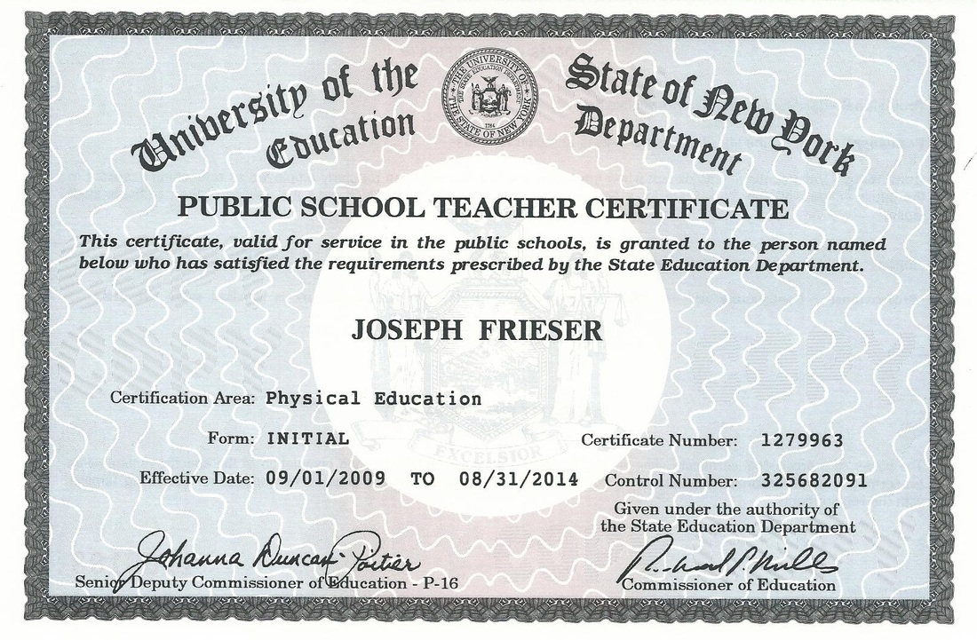 Certifications Joseph Friesers Teaching Portfolio